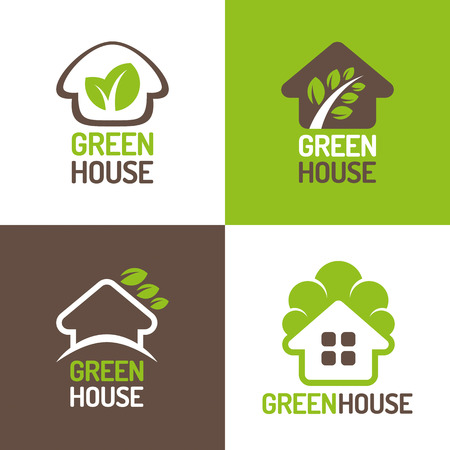 Concept of eco friendly green houses. Set of vector logos.