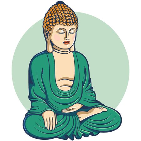 Colored Buddha seated in lotus pose, cartoon style