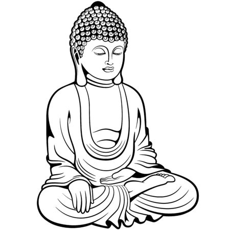 Buddha sitting in lotus pose, digital ink drawing