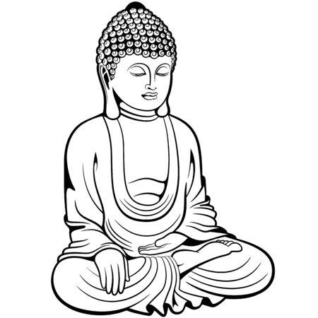 Buddha sitzt im Lotussitz, digitale Tuschezeichnung