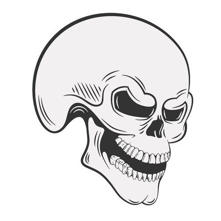Human skull with sinister grin Illusztráció