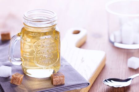 Inverted sugar syrup in a glass jar