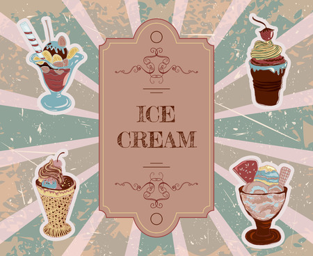 Template for design with hand drawn ice cream typography vintage poster Vettoriali