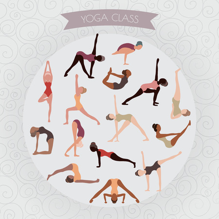 aerobics class: woman practicing yoga for design. Set of yoga poses