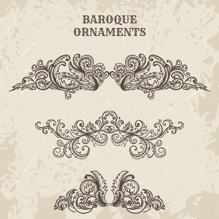 cartouche: Antique and baroque cartouche ornaments  set. Vintage architectural details design elements on grunge background in sketch style
