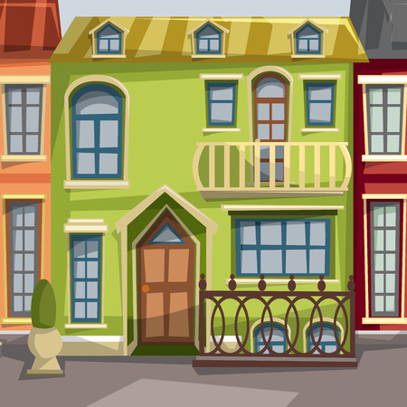 summer house: City houses facades. Illustration
