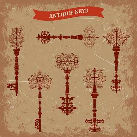 antique keys: Set of antique keys. Vintage  illustration collection.