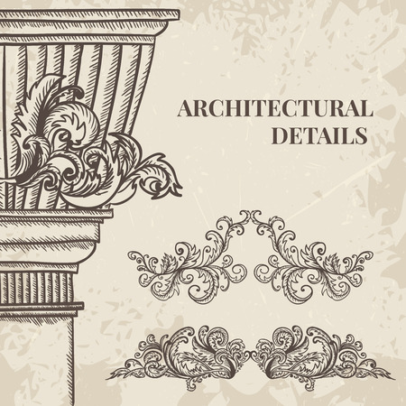 cartouche: Antique and baroque cartouche ornaments and classic style column set. Vintage architectural details design elements on grunge background in sketch style Illustration