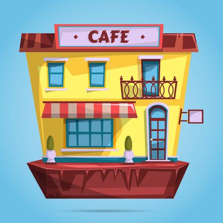 sidewalk cafe: Cafe facade. Flat design  illustration