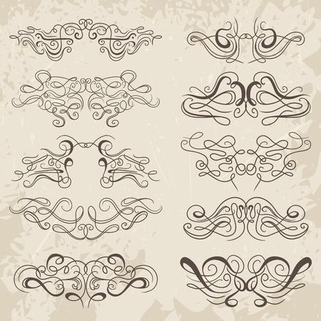 floral border: Calligraphic decorative elements. Set of design elements. Vintage hand drawn collection