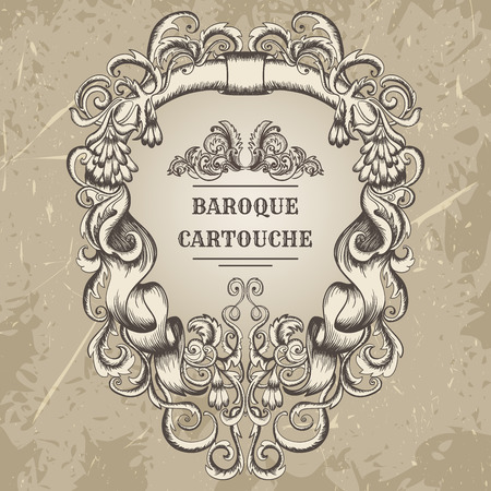 cartouche: Antique and baroque cartouche ornaments frame. Vintage architectural details design elements on grunge background in sketch style