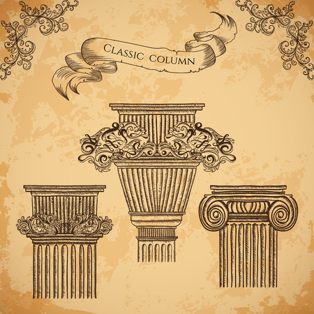 architectural elements: Antique and baroque classic style column set. Vintage architectural details design elements on grunge background in sketch style