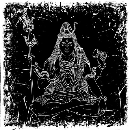グランジ背景に座っているインド神シヴァとビンテージ ポスター。レトロな手書きのベクトル図