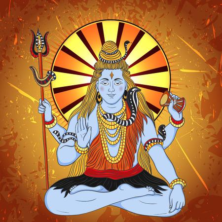 Vintage poster met zittende Indiase god Shiva op de grunge achtergrond. Retro hand getekende vector illustratie Stock Illustratie