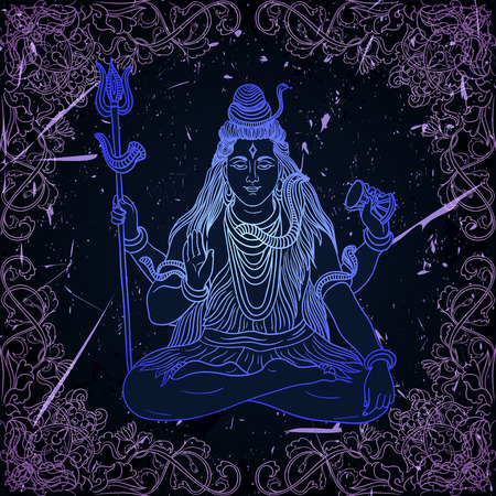 popular belief: Vintage poster with sitting Indian god Shiva on the grunge background. Retro hand drawn vector illustration