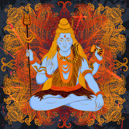 nataraja: Vintage poster with sitting Indian god Shiva on the grunge background. Retro hand drawn vector illustration