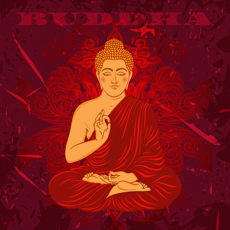 buddhist: Vintage poster with sitting Buddha on the grunge background. Retro hand drawn vector illustration