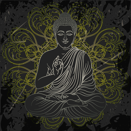 buddha statue: Vintage poster with sitting Buddha on the grunge background. Retro hand drawn vector illustration