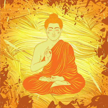 spiritual background: Vintage poster with sitting Buddha on the grunge background. Retro hand drawn vector illustration