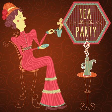 drink tea: Vintage hand drawn cafe poster tea party cartoon woman drink tea