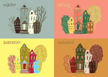 Vintage card with sweet cartoon houses and trees in seasons
