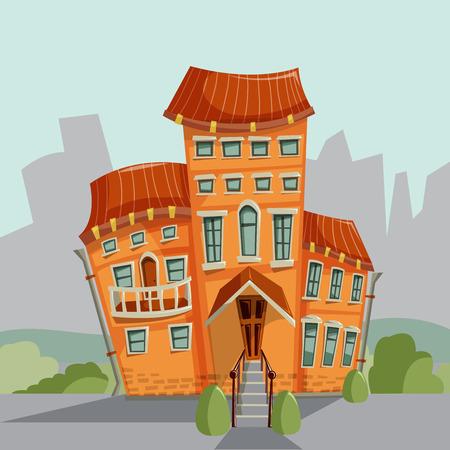 historical: City house facades. Vector illustration.