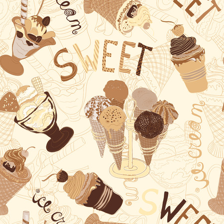 ollection: Vintage seamless pattern with ollection of hand drawn ice cream