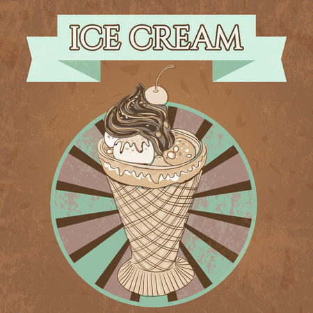 grange: Vintage template design ice cream poster with the grange texture