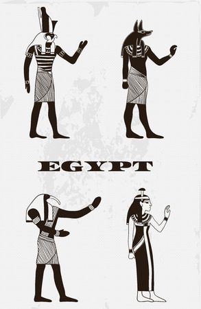 gods: Vintage poster with egyptian gods on the grunge background. Retro hand drawn vector illustration Illustration