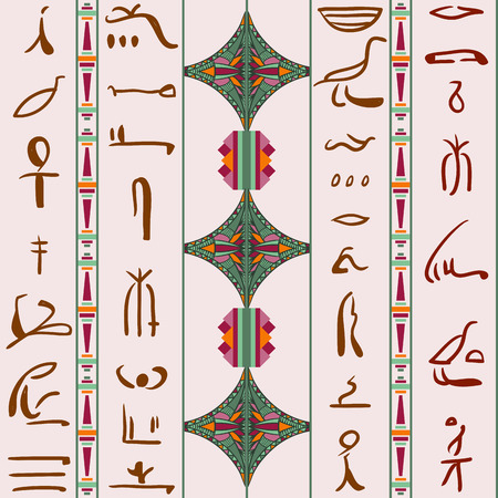 hieroglyphs: Egypt colorful ornament with Silhouettes of the ancient Egyptian hieroglyphs. Vector seamless pattern