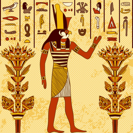 Vintage poster with egyptian god on the grunge background with ancient egyptian hieroglyphs and floral elements. Retro hand drawn vector illustration