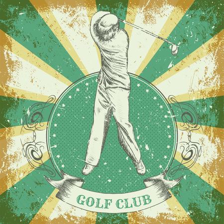 """Cartel de la vendimia con el golf hombre jugando. Mano retro ejemplo del vector dibujado """"palo de golf"""" en el estilo de dibujo con el fondo del grunge Foto de archivo - 43922034"""