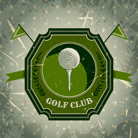 golf: vintage poster with golf ball. Retro hand drawn vector illustration label golf club with grunge background