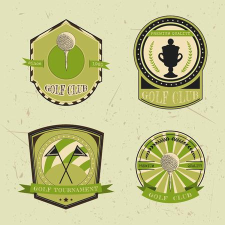 ゴルフクラブのロゴのテンプレートのセットです。ゴルフ ・ ボール、チャンピオンシップ カップ フラグとビンテージ スポーツ ラベル。ゴルフ ト
