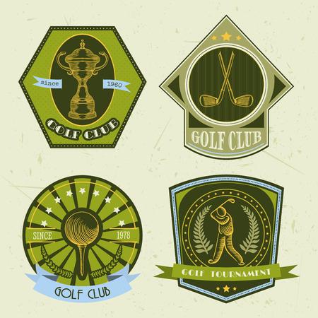 ゴルフクラブのロゴのテンプレートのセットです。ゴルフ ・ ボール、優勝カップ、パターのゴルファーとビンテージ スポーツ ラベル。ゴルフ トー