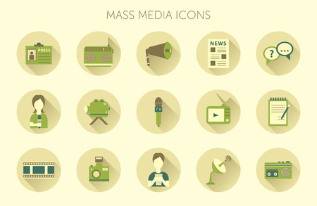 news cast: Vector illustration of Mass media journalism broadcasting news cast concept flat business icons set of paparazzi profession live radio for infographics design web elements Illustration