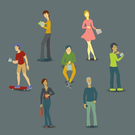 vrouw met tablet: Set van mensen, man en vrouw, het gebruik van technologie gadget, smartphone, mobiele telefoon, tablet. Social media network concept. Vector illustratie Stock Illustratie