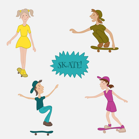 skaters: Teens male and female skaters in action. Cartoon vector illustrtion in flat style