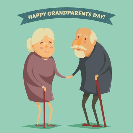 marido y mujer: Abuelos felices tomados de la mano. Abuelos felices carteles d�as. Ilustraci�n del vector en estilo de dibujos animados Vectores
