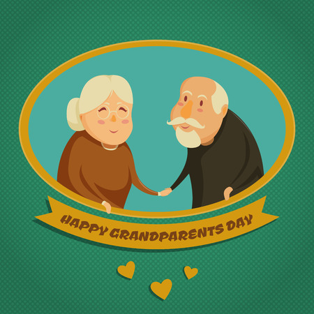 grandparents: Happy grandparents holding hands. Happy grandparents day poster. Vector illustration in cartoon style