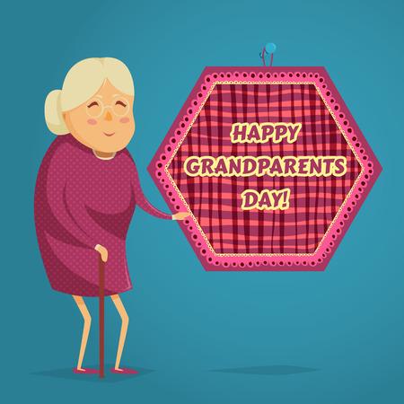 幸せの祖母。幸せな祖父母の日」ポスター。漫画のスタイルのベクトル図