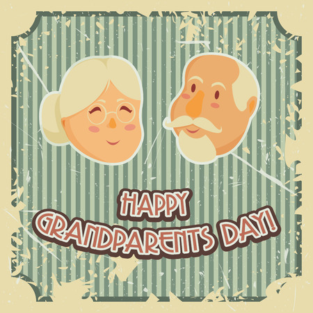 grandparents: Happy grandparents day poster. Vector illustration in cartoon style
