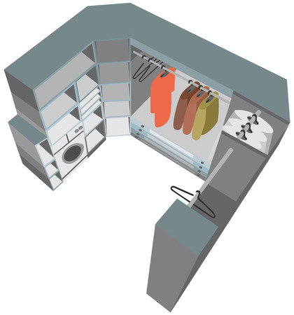 cutaway: interior closet cutaway illustration wardrobe room 3d Illustration