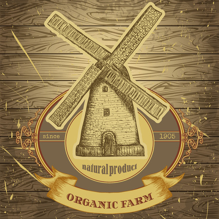 natural energy: organic farm poster with vintage windmill on the background texture of wooden boards. Retro hand drawn vector illustration label in sketch style