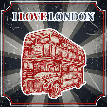 oxford: Vintage label with English bus on the grunge background. Retro hand drawn vector illustration poster in sketch style I love london