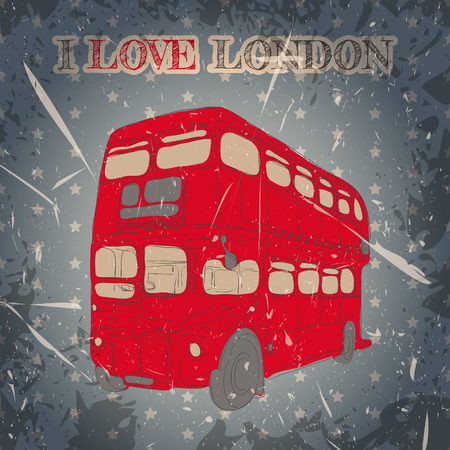 bus anglais: Étiquette vintage avec le bus anglais sur le fond grunge. Rétro illustration affiche de vecteur dessiné à la main dans le style esquisse 'I love london' Illustration