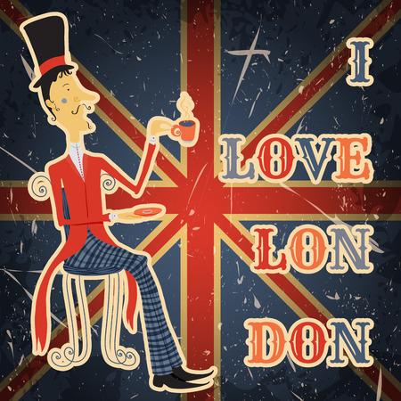 """Cartel de la vendimia con el caballero Inglés en el fondo del grunge. ilustración vectorial retro dibujado a mano en el estilo de dibujo 'Me encanta Londres """" Foto de archivo - 43949332"""