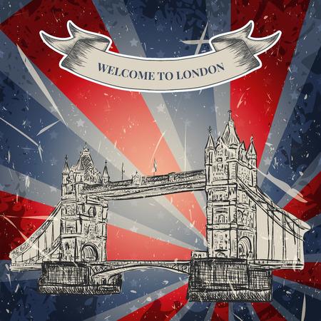 グランジ背景にタワー ブリッジとビンテージ ポスター。レトロな手描きスケッチ スタイルのベクトル図 'ロンドンが大好き'  イラスト・ベクター素材