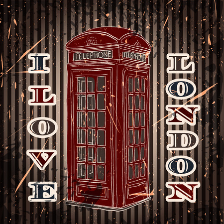 telephone box: Vintage label with london telephone box on the grunge background. Retro hand drawn vector illustration poster in sketch style I love london