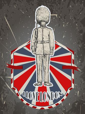 グランジ背景に英国近衛ビンテージ ポスター。レトロな手描きスケッチ スタイルのベクトル図 'ロンドンが大好き'